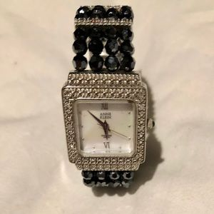 Anne Klein Black Bead & Rhinestone Bracelet Watch